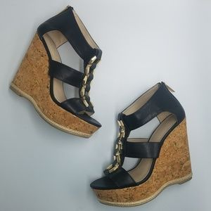 Aldo Gold Buckle Cork Wedge Platform Sandals